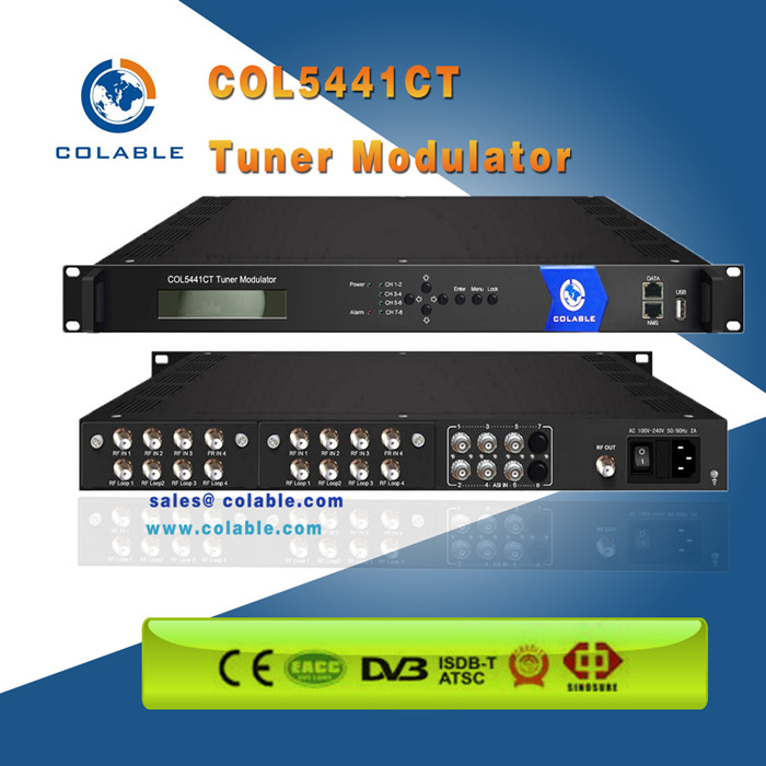 IP to dvb-c qam modulator/mux/scrambler with 4 adjacent qam modulation COL5441CT