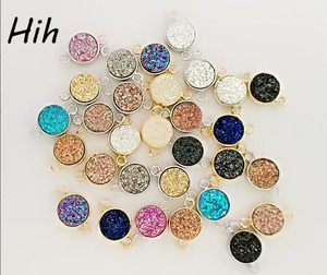 Custom druzy pendant stones wholesale beads connector druzy stones for jewelry making