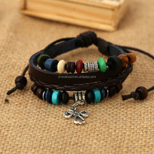 Neweest Unisex Woven Pu Leather Old Fashioned Charm Bracelet