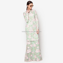 Muslim dress with lace baju kurung long sleeve maxi dress model baju kurung modern