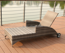 Outdoor Lounge with Cushion Rattan Beach Bed with Wheel Beach Chair