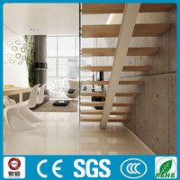 stainless steel single stringer stair glass railing wood stair