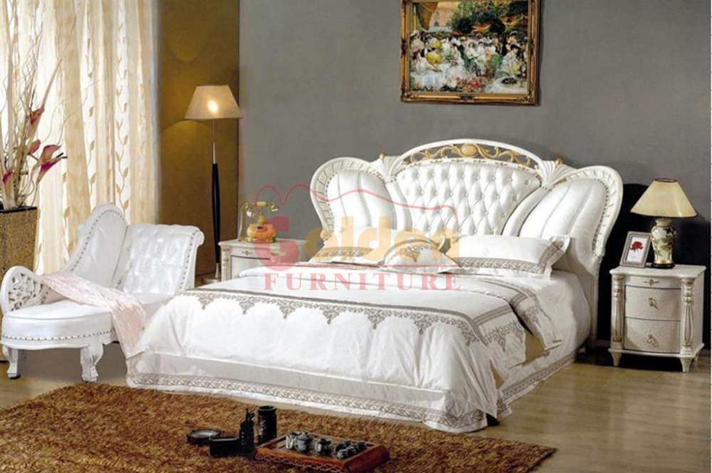 New Arrivao luxury king size cot bed wooden furniture in Foshan 2892#