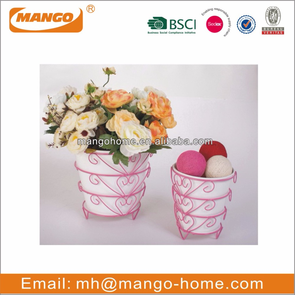 Galvanized steel wire stand table flower pots