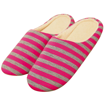 Womens Fashion Stripe Cotton Knitted Travel Indoor Slippers With Anti-slip Sole