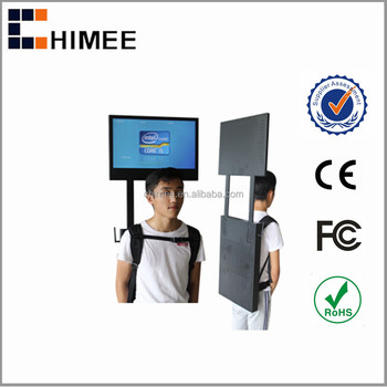 "HQ220-P4 22"" backpack portable lcd photobooth digital advertising system with remote controller and rechargeable battery"