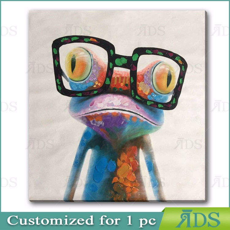 Hand Painted Oil Painting Cute Frog with Glasses Painting on Canvas Stretched and Framed Modern Pop Wall Art Decor
