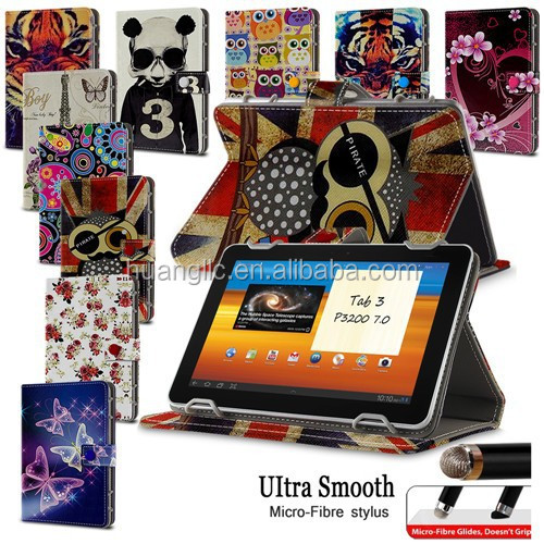 "Hot Sales PU Leather Stand Case Folio Cover For Samsung Galaxy Tab 3 7.0 7"" Tablet P3200 P3210 Android Tablet Bag With Stylus"