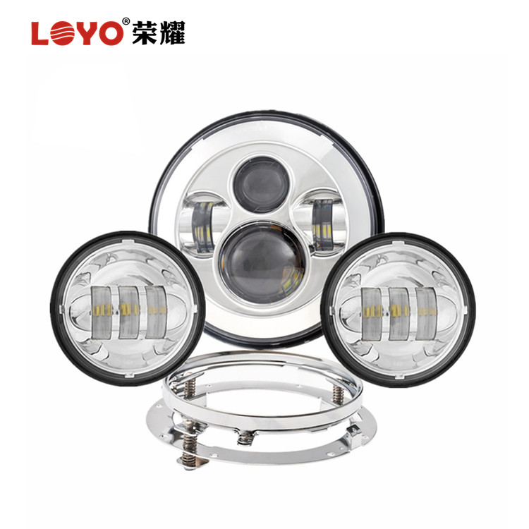 "7"" LED Headlight Plus 2*4.5 Inch Fog Lights 7 Inch Bracket Motorcycle LED Light Kit for Harley"