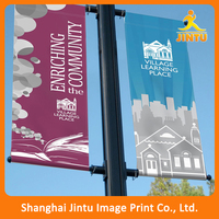 Cheap outdoor double sides hanging advertising lamp post vinyl street pole banner