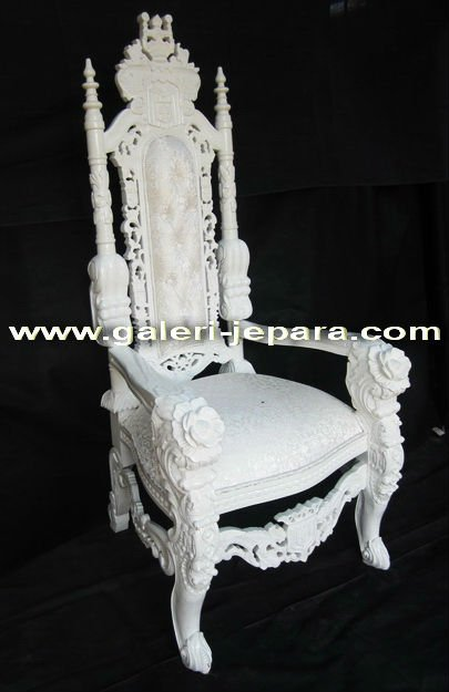 Antique Reproduction Throne Furniture - Lion King Chair with Rose Carving - Hand Carved Solid Mahogany Wood Indonesia