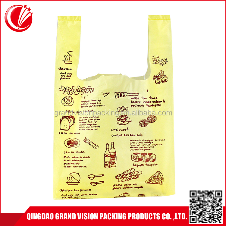 Eco-friendly free sample personalized supermarket plastic shopping t shirt bag