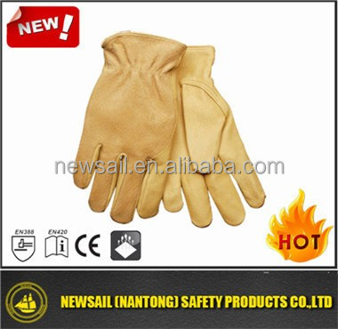NEWSAIL Golden calf split leather gloves/cow leather driver safety gloves/yellow driver safety working gloves