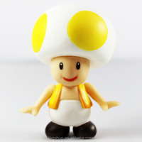 "Super Mario Brother Yellow Star Mushroom Toad 10cm/4"" PVC Figure Loose"