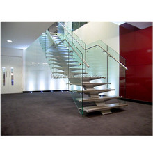 N119 Creater House Wood Glass Stairs, Manufacturer Customied Glass Staircase, Hot Sale Straight Floating Glass Wood Stairs