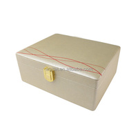 Custom Printed Champagne Gold Large Rectangular Wooden Cosmetic Box