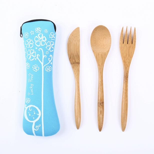 Portable 3pcs bamboo cutlery <strong>set</strong> spoon knife fork <strong>set</strong>
