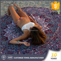 Microfiber fabric circle beach towel custom printed mandala round towel 1500mm