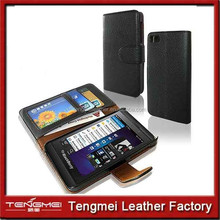 Classic Black PU Leather Stand Case Cover Screen Protector bumper case for blackberry