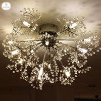 Caren European modern contemporary crystal living room Stainless steel leaves ceiling lamp