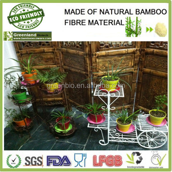 creative funny plant power made bamboo fibre garden plant holder, flower pots