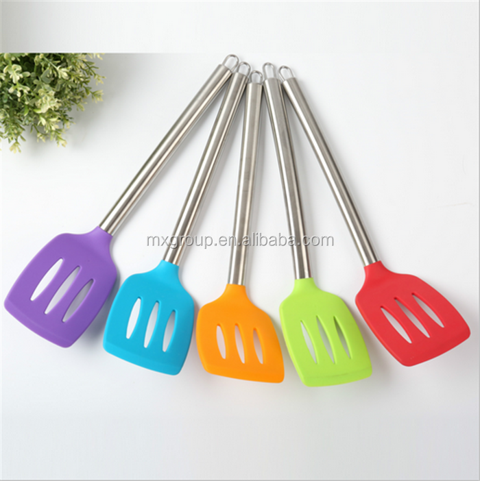 Private Label Non-stick Stainless Steel Silicone Slotted Turner,Pizza Turner silicone pancake turner