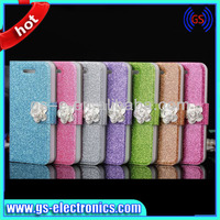 goophone i5s glitter PU case for iphone5s diamond Leather case for iphone5s
