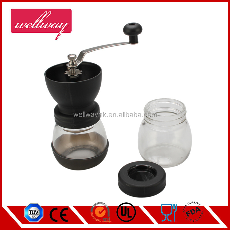 Manual Coffee Grinder, Adjustable Glass Grinders with Stainless Steel Adjustment Nut and Glass Jar, Black