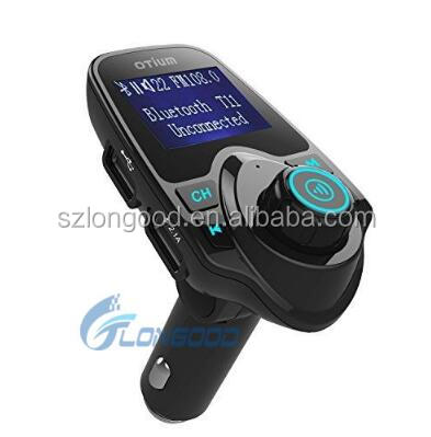 2017 Popular Bluetooth Car Kit Handsfree FM Transmitter MP3 Music Player 5V 2.1A USB Car Charger with Blue LED Screen