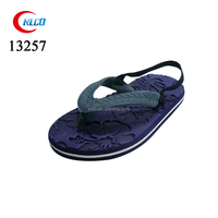 Kids navy pedicure embossed EVA flip flop back strap