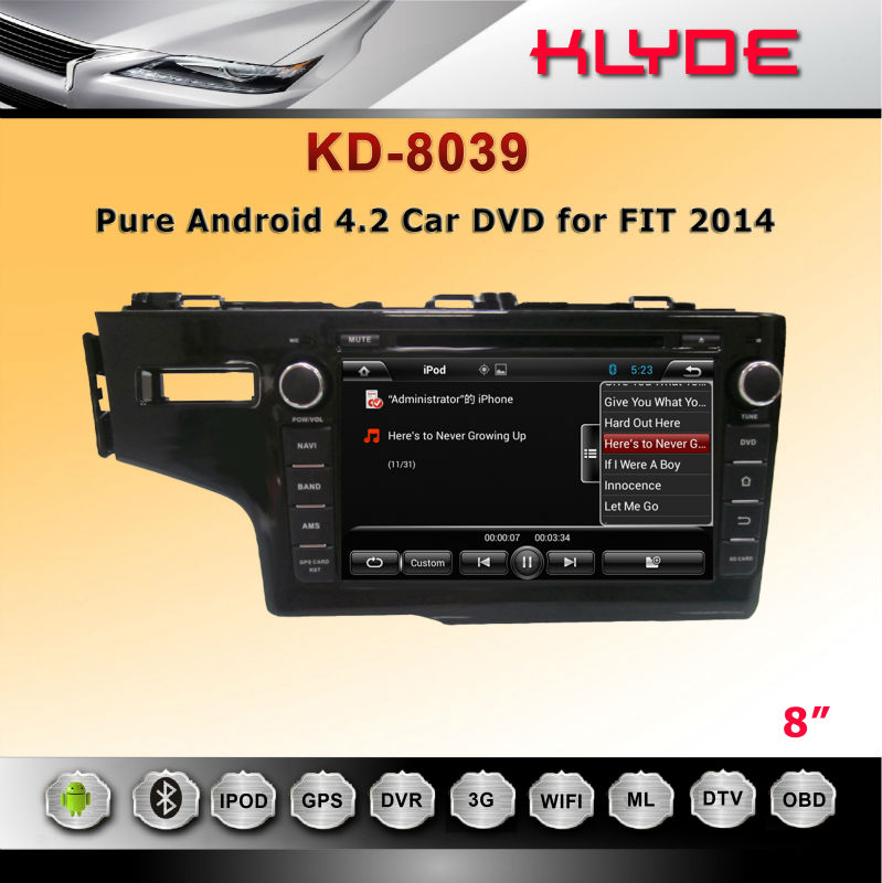 "special 8"" 2 din GPS 3G BT Radio AUX IN car dvd for 2014 FIT WITH DUAL CORE"