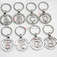 Crystal round silver letter key ring, rotating letter shaped rhinestone metal keychain