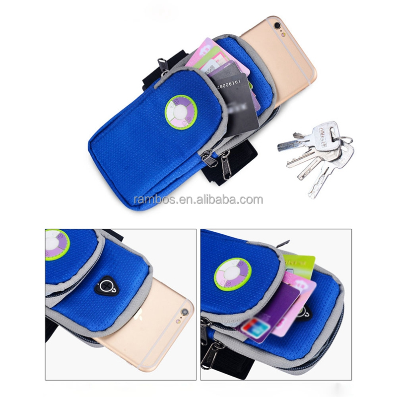 Nylon Sports Armband Smart Phone Arm Bag Key Money Card Holder <strong>2</strong> Zipper Pockets with Earphone Hole for Iphone 7 6 6s 5s 5c se