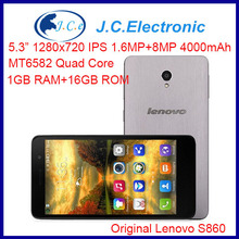 "Original Lenovo S860 WCDMA Phone 4000mAh battery Quad Core MTK6582 1.3GHz 5.3"" IPS 720P Android 4.2 1GB 16GB 8.0MP Camera OTG"