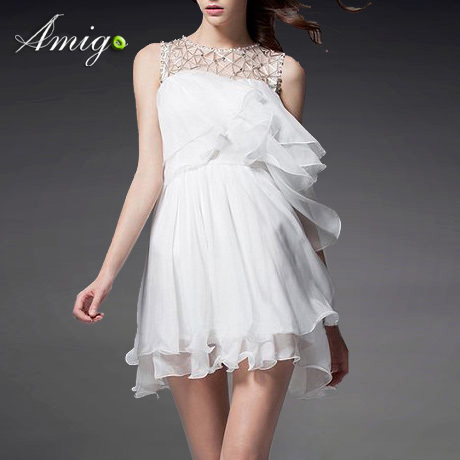Women short princes chiffon white loose party dress