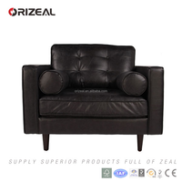 European Style Comfortable Vintage Black Leather