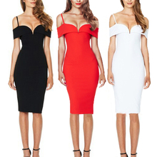 Hot Sale Red Black Off Shoulder Low Cut Bodycon Women Sexy Club Dress
