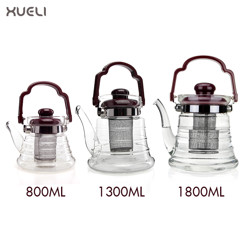 Custom new design 800ml, 1300ml, 1800ml thermos glass infuser yixing teapot