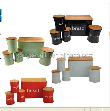 stainless steel bread bin biscuit tea coffee sugar canister set
