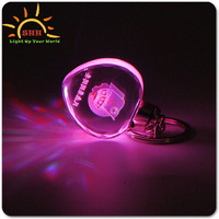 wedding giveaway light up glowing LED crystal clear acrylic keyring
