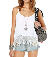 OASAP NEW arrival Woman White Lace Paneled Cami Tank Crop Top sexy sleeveless short women top fashion white crop top-66389