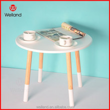 home decor white mdf coffe table with wood table leg