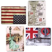 Unique Retro flag European design Custom Printed Hard Plastic Case Back Cover for iPad Air Mini 7 7.85 9.7 Inch Tablet Cover