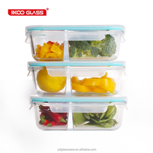 large size 1520ml rectangle take away glass food compartment container