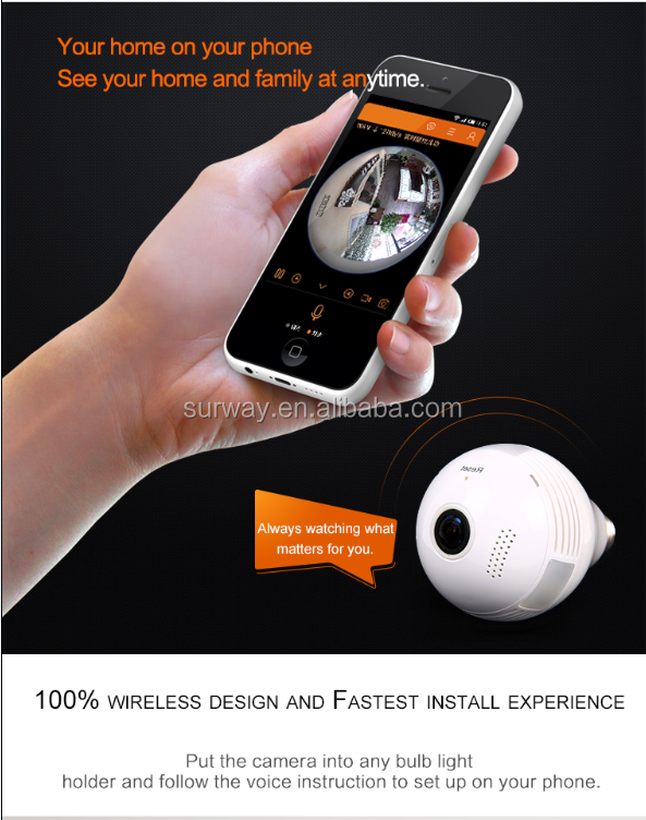 New 1.3 MP 360 Panoramic spy HD Wireless WIFI IP hidden light bulb camera install free play store app google play download