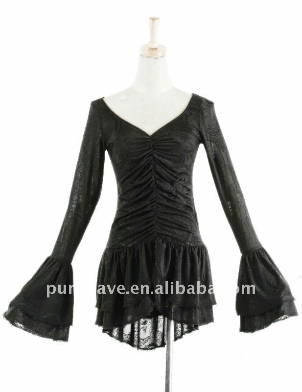 T-278 Punk Rave Fashion Lady Gothic Black Dobby Long Sleeve Blouse