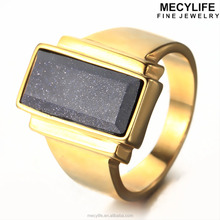 MECYLIFE Big Black Stone 18K Gold Plated Titanium Magnetic Rings