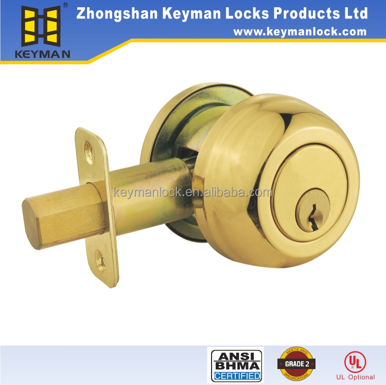 ANSI /BHMA Approval Commerical Single Cylinder Keyed Deadbolt door locks Brass Finish with Round Shape