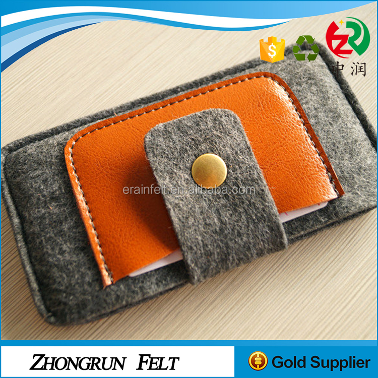 China Supplier Fabric Free Sample Multipurpose Bag Organizer Leather Decoration Felt Cell Phone Case With Button