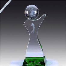 Wholesale customized cheap clear cristal golf trophy with golf ball for business gift